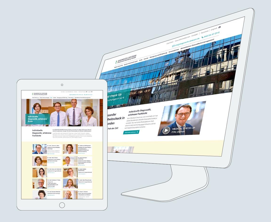 Website Entwicklung Diagnostik Zentrum Fleetinsel Hamburg
